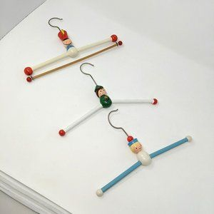 Three Vtg Children's Kids Painted Wood Hangers
